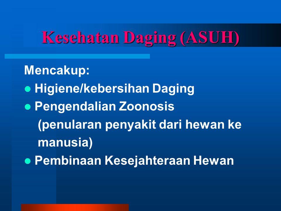 Kesehatan Daging (ASUH) Mencakup:  Higiene/kebersihan Daging  Pengendalian Zoonosis (penularan penyakit dari hewan ke manusia)  Pembinaan Kesejahteraan Hewan