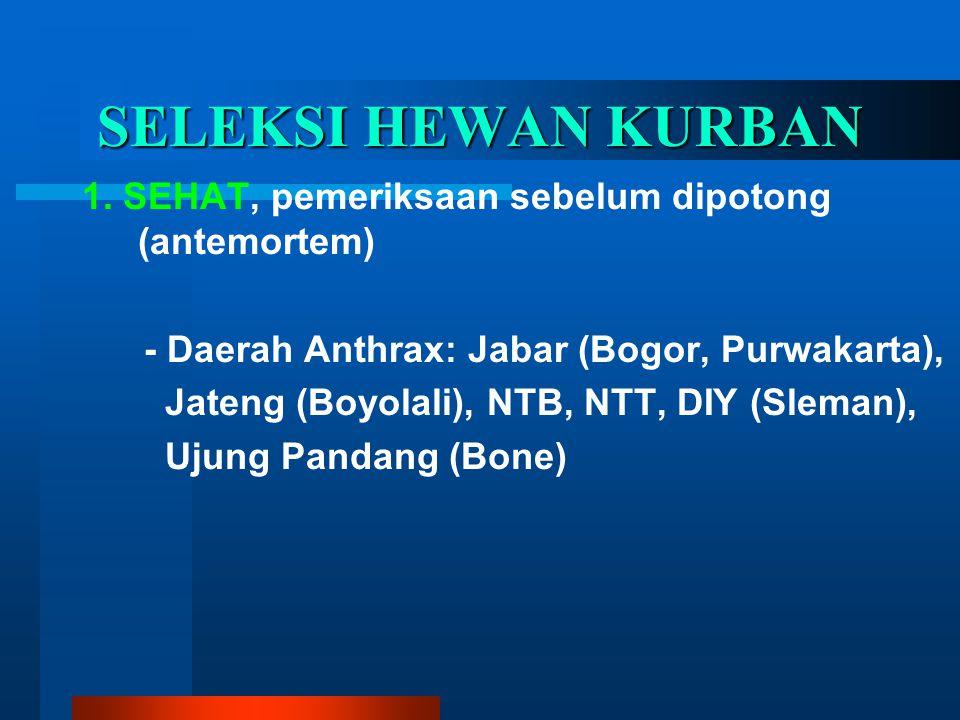 SELEKSI HEWAN KURBAN 1. SEHAT, pemeriksaan sebelum dipotong (antemortem) - Daerah Anthrax: Jabar (Bogor, Purwakarta), Jateng (Boyolali), NTB, NTT, DIY