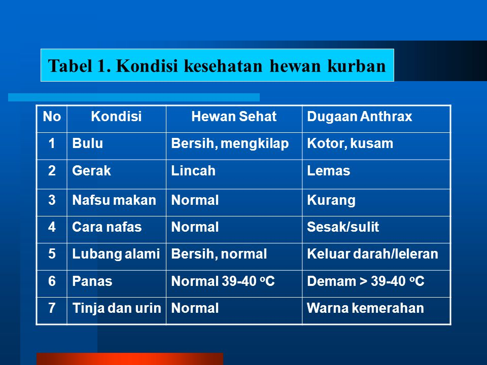 NoKondisiHewan SehatDugaan Anthrax 1BuluBersih, mengkilapKotor, kusam 2GerakLincahLemas 3Nafsu makanNormalKurang 4Cara nafasNormalSesak/sulit 5Lubang alamiBersih, normalKeluar darah/leleran 6PanasNormal 39-40 o CDemam > 39-40 o C 7Tinja dan urinNormalWarna kemerahan Tabel 1.