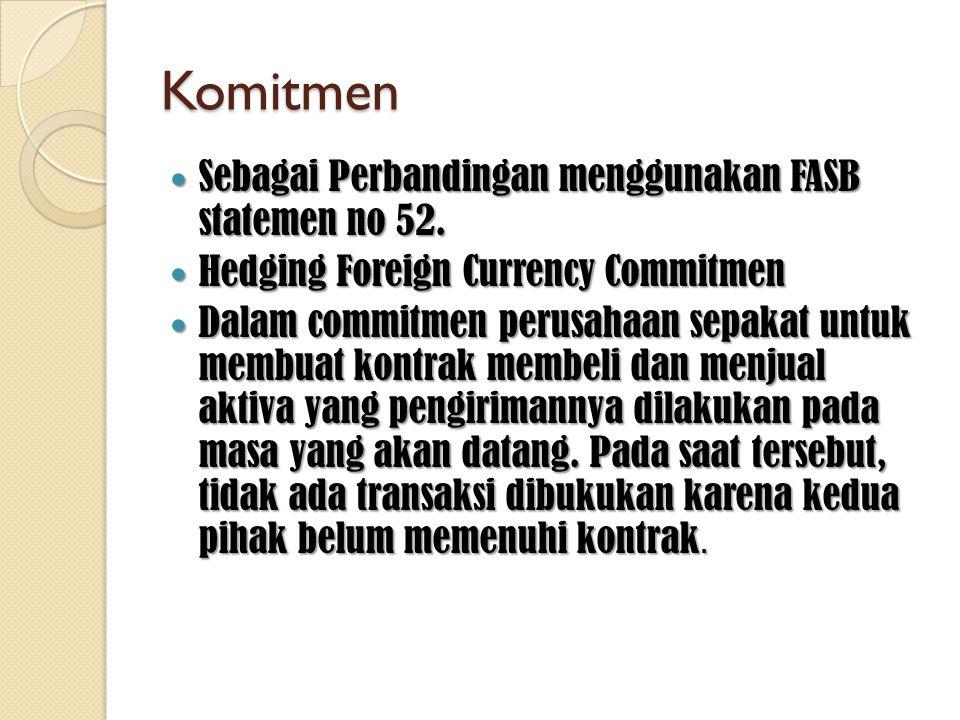 Komitmen  Sebagai Perbandingan menggunakan FASB statemen no 52.  Hedging Foreign Currency Commitmen  Dalam commitmen perusahaan sepakat untuk membu