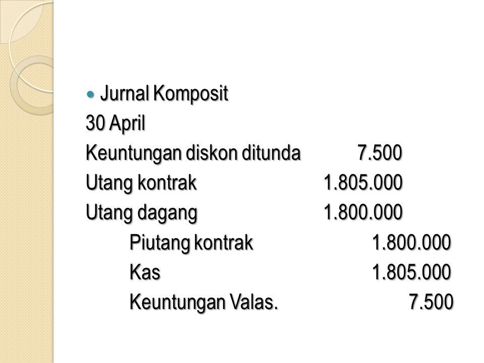  Jurnal Komposit 30 April Keuntungan diskon ditunda 7.500 Utang kontrak1.805.000 Utang dagang1.800.000 Piutang kontrak1.800.000 Kas1.805.000 Keuntung