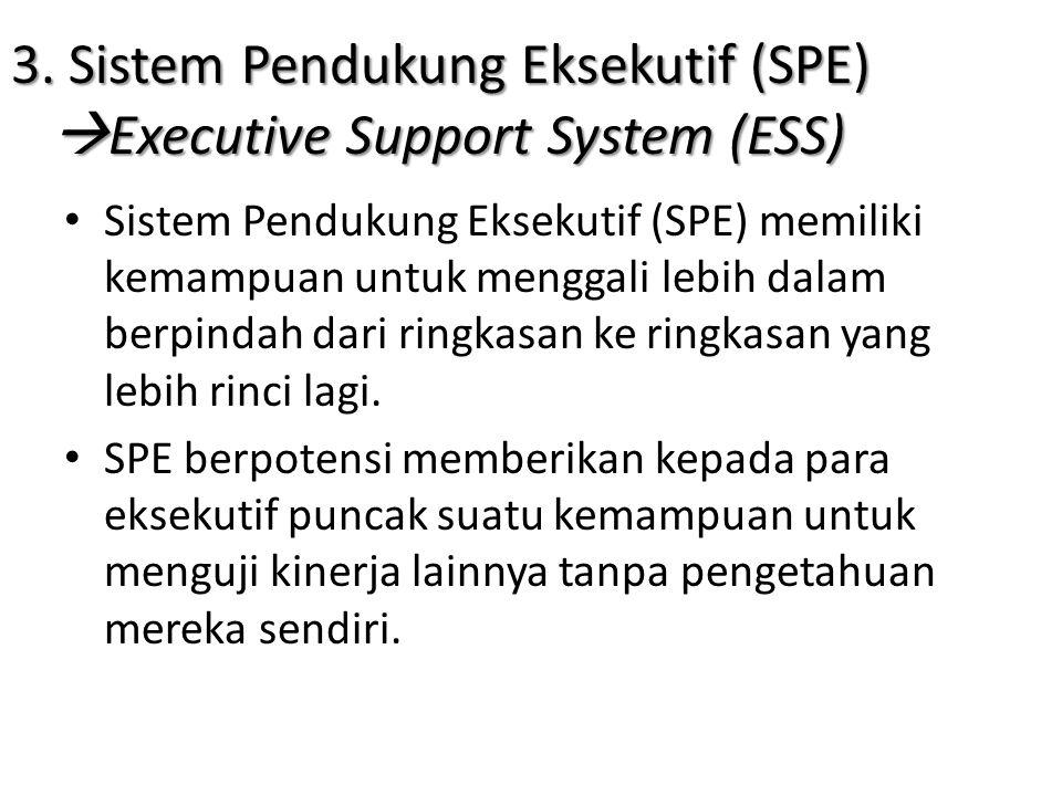 3. Sistem Pendukung Eksekutif (SPE)  Executive Support System (ESS) • Sistem Pendukung Eksekutif (SPE) memiliki kemampuan untuk menggali lebih dalam