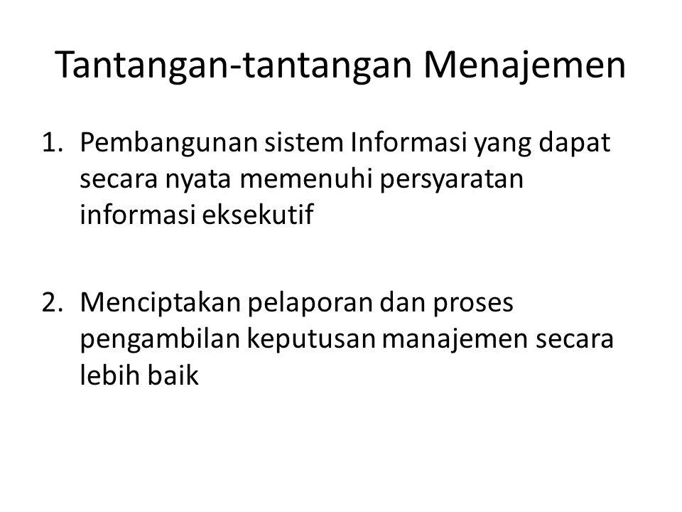 Tantangan-tantangan Menajemen 1.Pembangunan sistem Informasi yang dapat secara nyata memenuhi persyaratan informasi eksekutif 2.Menciptakan pelaporan