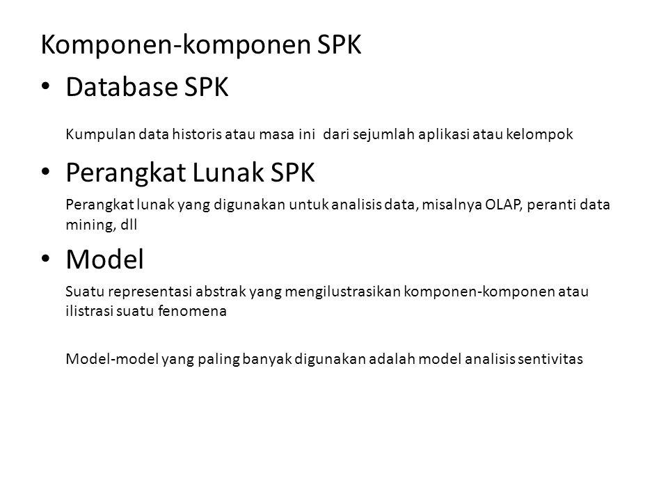 Komponen-komponen SPK • Database SPK Kumpulan data historis atau masa ini dari sejumlah aplikasi atau kelompok • Perangkat Lunak SPK Perangkat lunak yang digunakan untuk analisis data, misalnya OLAP, peranti data mining, dll • Model Suatu representasi abstrak yang mengilustrasikan komponen-komponen atau ilistrasi suatu fenomena Model-model yang paling banyak digunakan adalah model analisis sentivitas