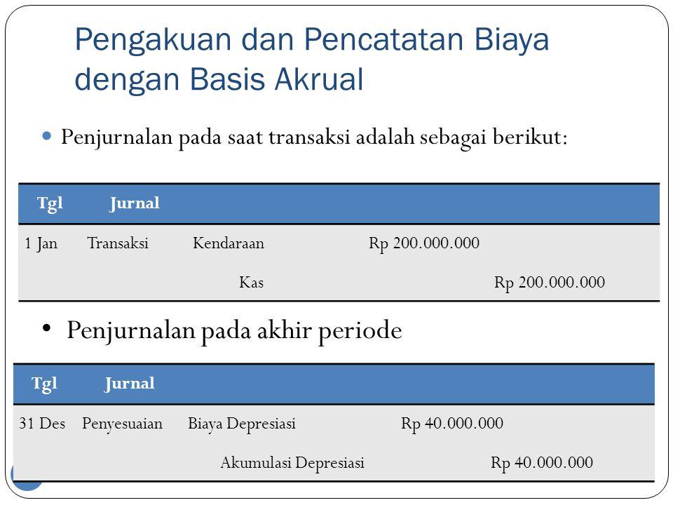 Pengakuan dan Pencatatan Biaya dengan Basis Akrual 25  Penjurnalan pada saat transaksi adalah sebagai berikut: • Penjurnalan pada akhir periode TglJurnal 1 JanTransaksiKendaraan Rp 200.000.000 Kas Rp 200.000.000 TglJurnal 31 DesPenyesuaianBiaya Depresiasi Rp 40.000.000 Akumulasi Depresiasi Rp 40.000.000