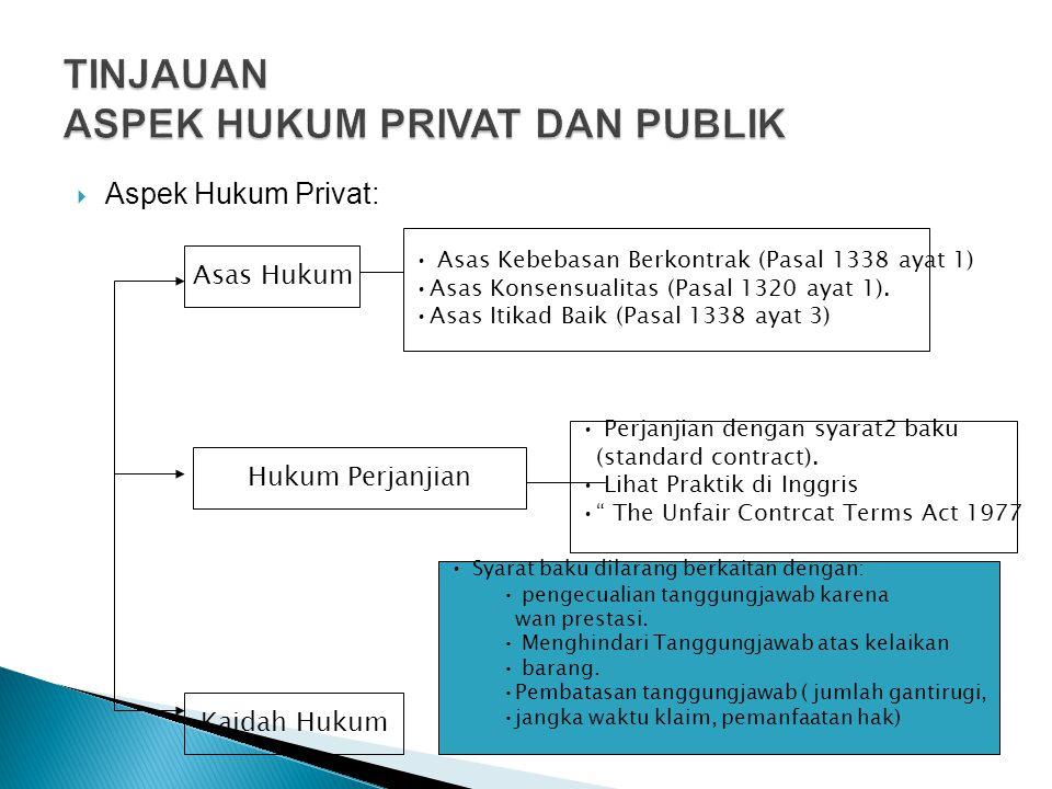  Aspek Hukum Privat: Asas Hukum Kaidah Hukum • Asas Kebebasan Berkontrak (Pasal 1338 ayat 1) •Asas Konsensualitas (Pasal 1320 ayat 1). •Asas Itikad B