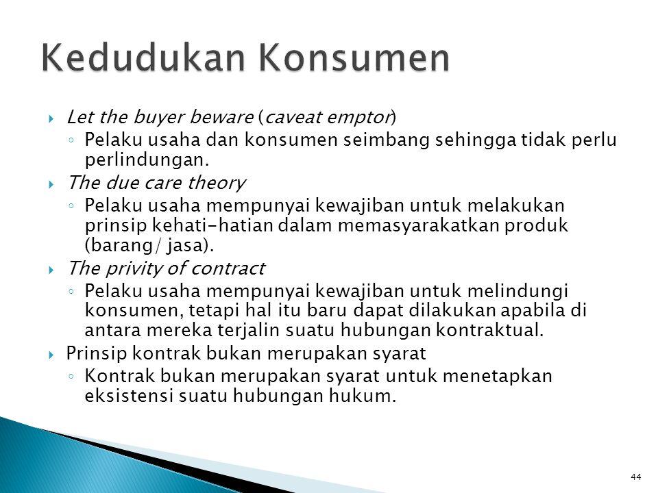  Let the buyer beware (caveat emptor) ◦ Pelaku usaha dan konsumen seimbang sehingga tidak perlu perlindungan.  The due care theory ◦ Pelaku usaha me