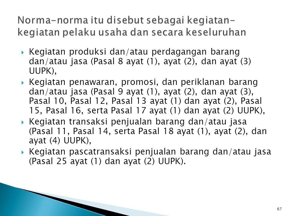  Kegiatan produksi dan/atau perdagangan barang dan/atau jasa (Pasal 8 ayat (1), ayat (2), dan ayat (3) UUPK),  Kegiatan penawaran, promosi, dan peri