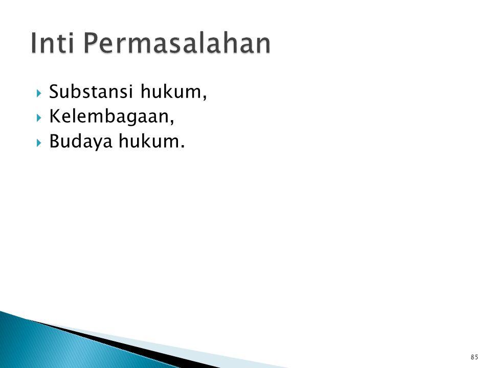  Substansi hukum,  Kelembagaan,  Budaya hukum. 85