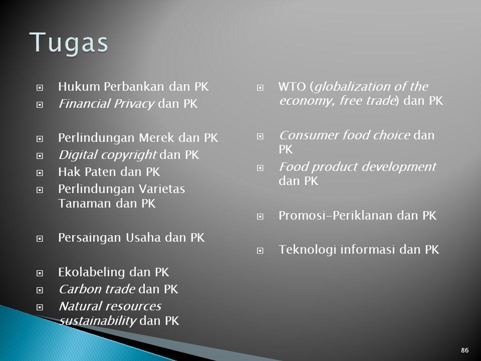  Hukum Perbankan dan PK  Financial Privacy dan PK  Perlindungan Merek dan PK  Digital copyright dan PK  Hak Paten dan PK  Perlindungan Varietas