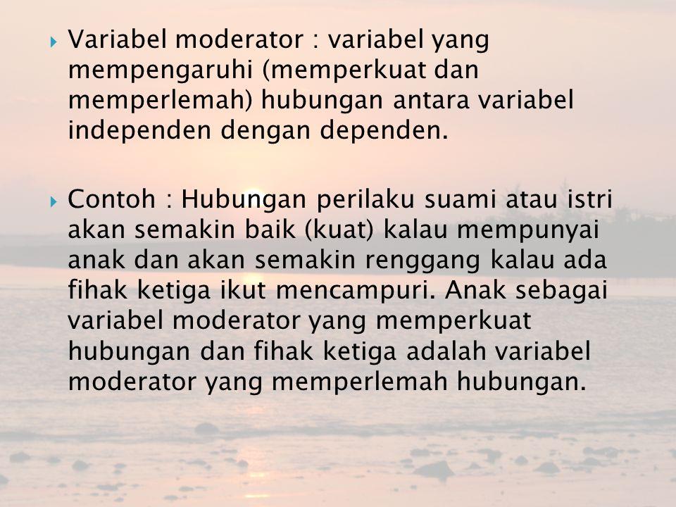  Variabel moderator : variabel yang mempengaruhi (memperkuat dan memperlemah) hubungan antara variabel independen dengan dependen.  Contoh : Hubunga