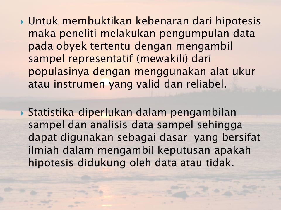 Untuk membuktikan kebenaran dari hipotesis maka peneliti melakukan pengumpulan data pada obyek tertentu dengan mengambil sampel representatif (mewak