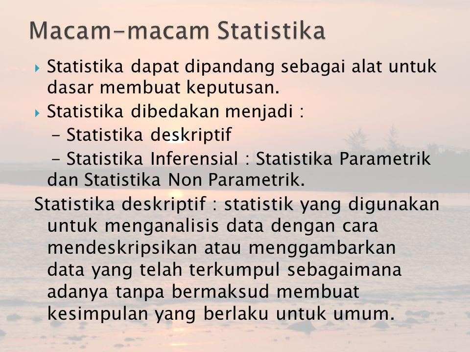  Statistika dapat dipandang sebagai alat untuk dasar membuat keputusan.  Statistika dibedakan menjadi : - Statistika deskriptif - Statistika Inferen