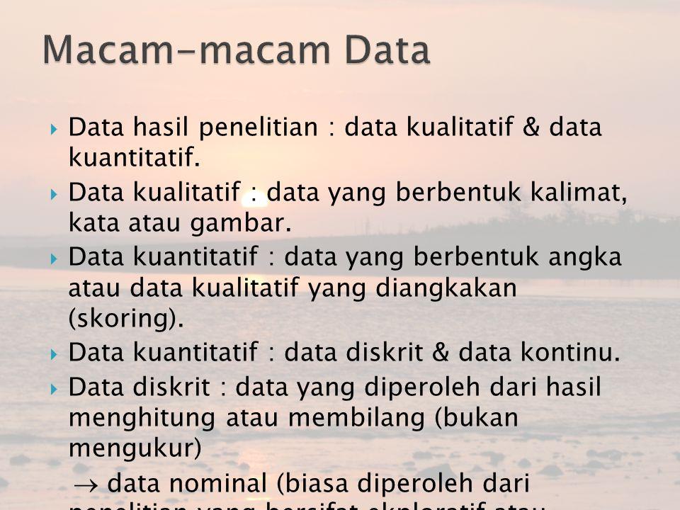  Data hasil penelitian : data kualitatif & data kuantitatif.  Data kualitatif : data yang berbentuk kalimat, kata atau gambar.  Data kuantitatif :