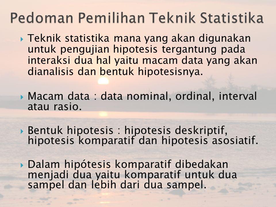  Teknik statistika mana yang akan digunakan untuk pengujian hipotesis tergantung pada interaksi dua hal yaitu macam data yang akan dianalisis dan ben