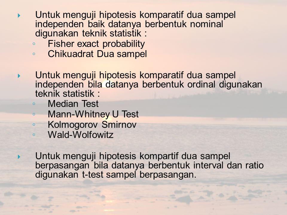  Untuk menguji hipotesis komparatif dua sampel independen baik datanya berbentuk nominal digunakan teknik statistik : ◦ Fisher exact probability ◦ Ch