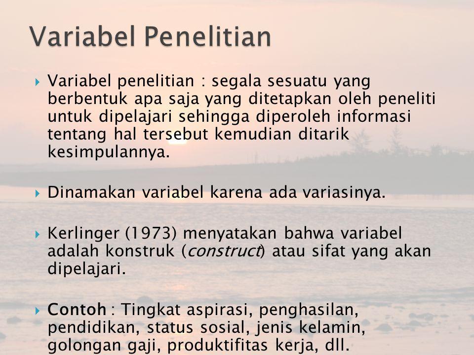 Macam-macam Variabel  Variabel Independen (variabel stimulus, prediktor, antecedent) atau variabel bebas : variabel yang mempengaruhi atau yang menjadi sebab perubahannya atau timbulnya variabel dependen (terikat).