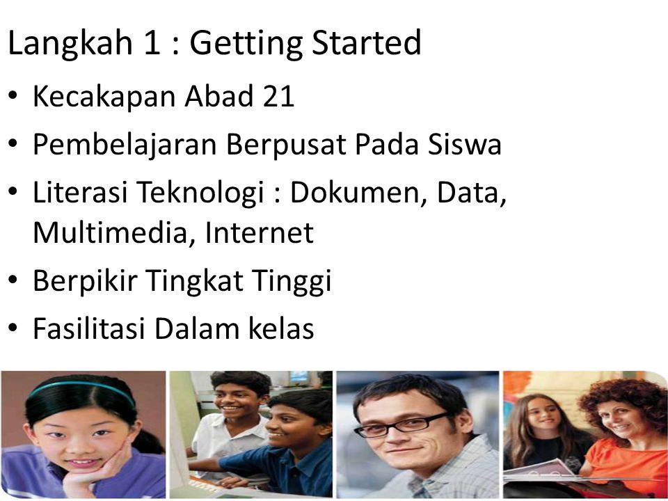 Langkah 1 : Getting Started • Kecakapan Abad 21 • Pembelajaran Berpusat Pada Siswa • Literasi Teknologi : Dokumen, Data, Multimedia, Internet • Berpik