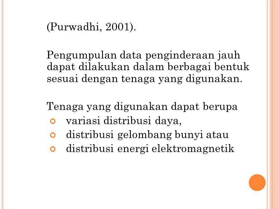 (Purwadhi, 2001). Pengumpulan data penginderaan jauh dapat dilakukan dalam berbagai bentuk sesuai dengan tenaga yang digunakan. Tenaga yang digunakan