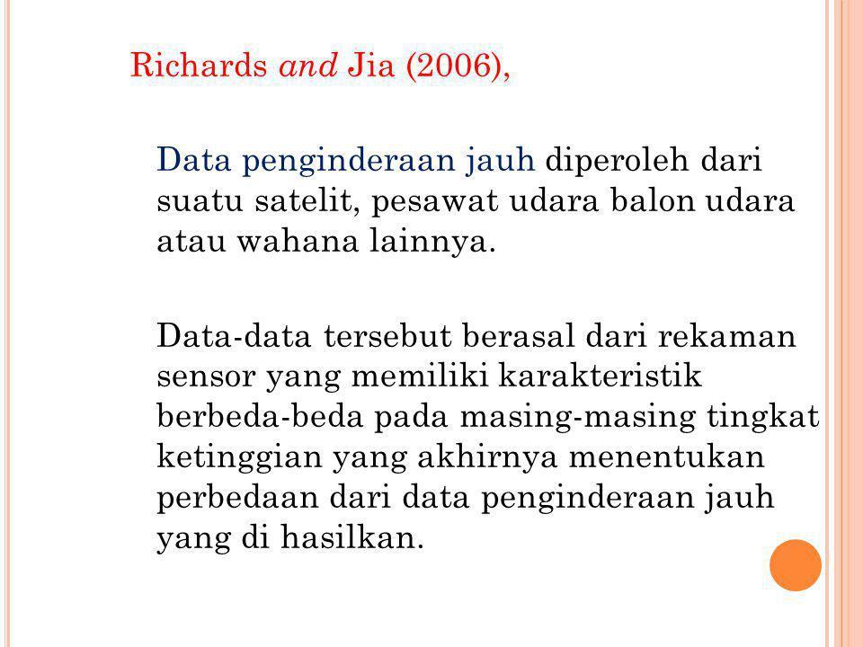 Richards and Jia (2006), Data penginderaan jauh diperoleh dari suatu satelit, pesawat udara balon udara atau wahana lainnya. Data-data tersebut berasa