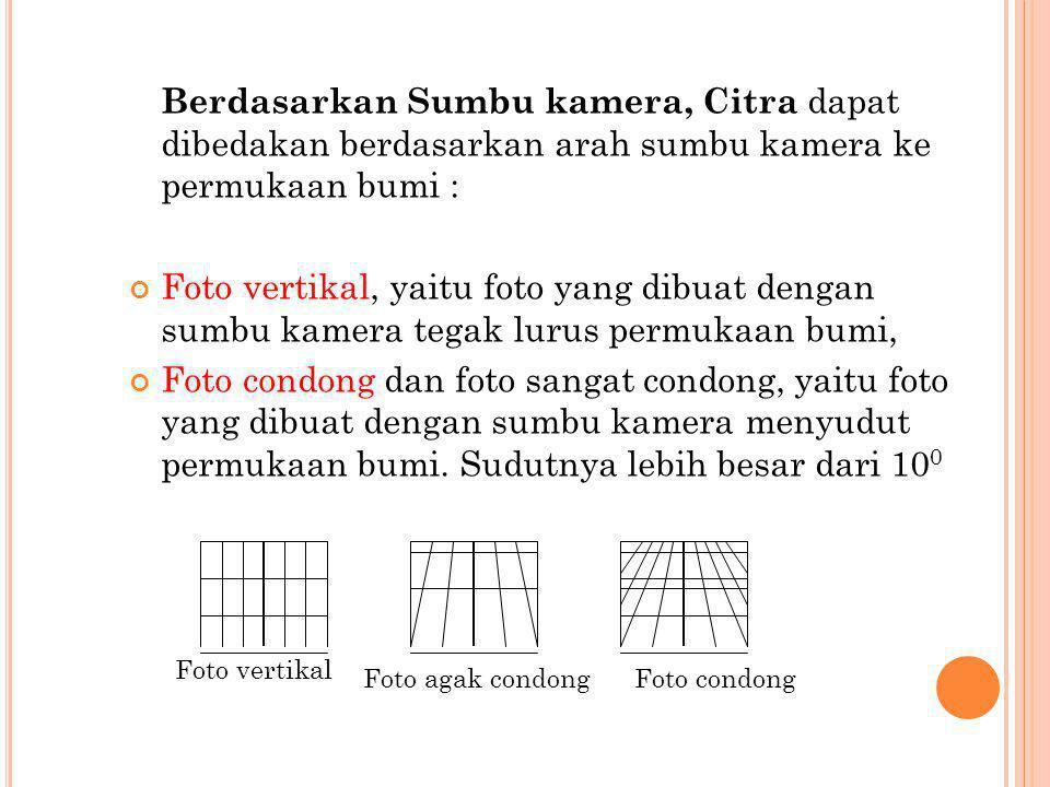 Berdasarkan Sumbu kamera, Citra dapat dibedakan berdasarkan arah sumbu kamera ke permukaan bumi : Foto vertikal, yaitu foto yang dibuat dengan sumbu k