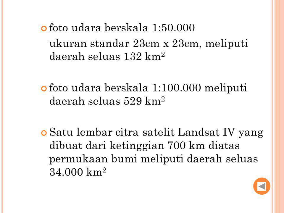 foto udara berskala 1:50.000 ukuran standar 23cm x 23cm, meliputi daerah seluas 132 km 2 foto udara berskala 1:100.000 meliputi daerah seluas 529 km 2