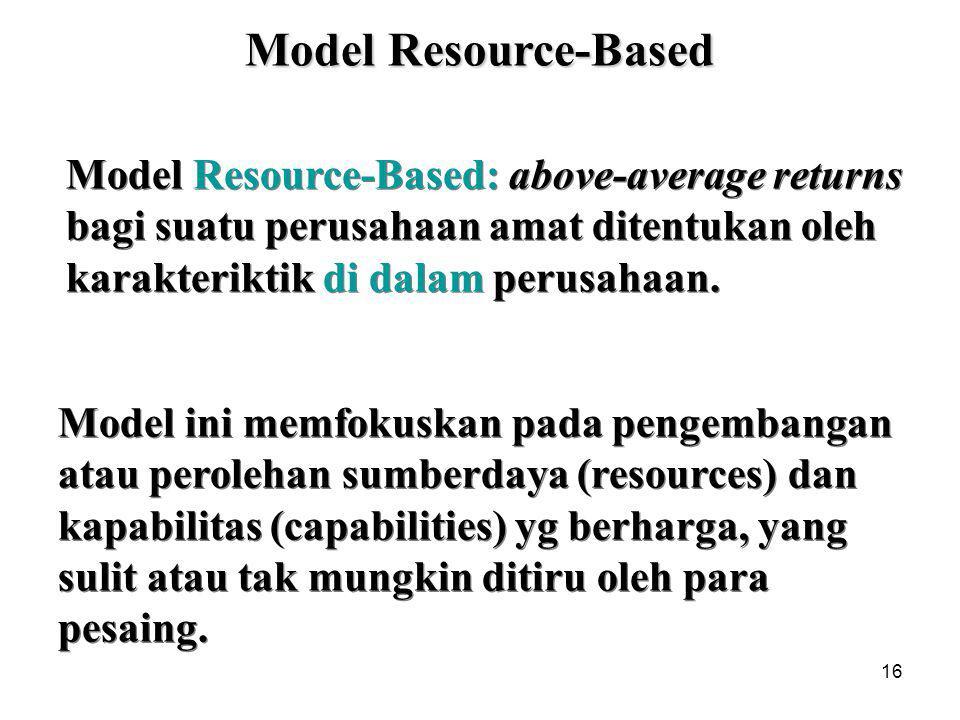 16 Model Resource-Based: above-average returns bagi suatu perusahaan amat ditentukan oleh karakteriktik di dalam perusahaan.