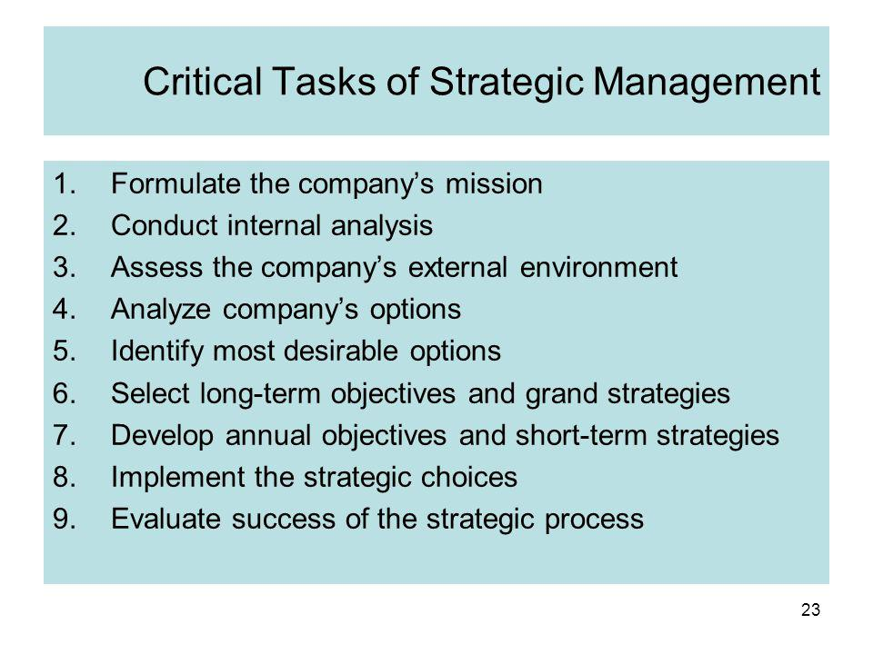23 Critical Tasks of Strategic Management 1.Formulate the company's mission 2.Conduct internal analysis 3.Assess the company's external environment 4.