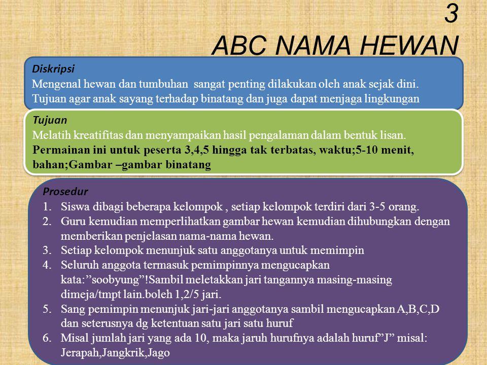 3 ABC NAMA HEWAN prosedur Diskripsi Mengenal hewan dan tumbuhan sangat penting dilakukan oleh anak sejak dini. Tujuan agar anak sayang terhadap binata