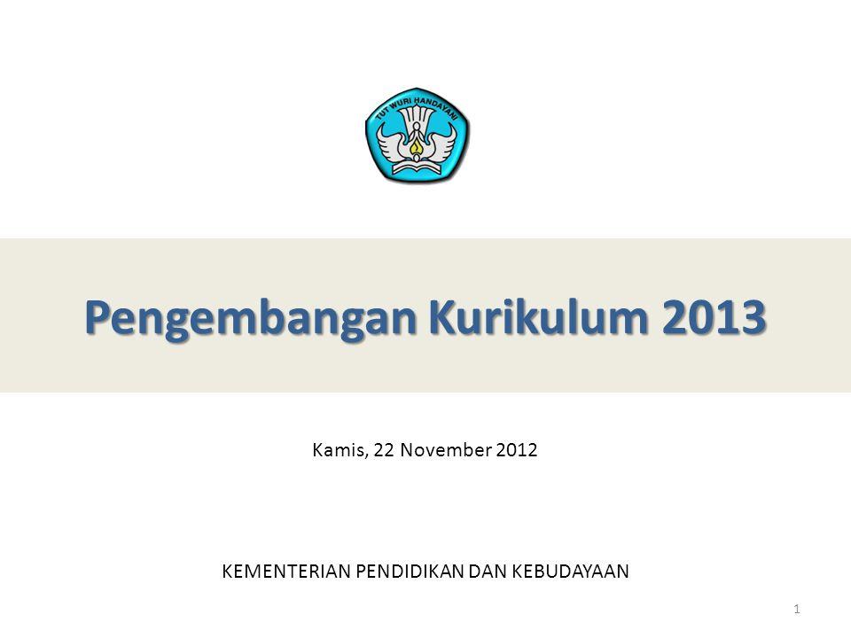 Landasan Kerja Penyempurnaan Kurikulum • RPJMN 2010-2014 SEKTOR PENDIDIKAN Prioritas 2: Metodologi Penerapan metodologi pendidikan yang tidak lagi berupa pengajaran demi kelulusan ujian (teaching to the test), namun pendidikan menyeluruh yang memperhatikan kemampuan sosial, watak, budi pekerti, kecintaan terhadap budaya-bahasa Indonesia melalui penyesuaian sistem Ujian Akhir Nasional pada 2011 dan penyempurnaan kurikulum sekolah dasar dan menengah sebelum tahun 2011 yang diterapkan di 25% sekolah pada 2012 dan 100% pada 2014; Prioritas 5: Kurikulum Penataan ulang kurikulum sekolah yang dibagi menjadi kurikulum tingkat nasional, daerah, dan sekolah sehingga dapat mendorong penciptaan hasil didik yang mampu menjawab kebutuhan SDM untuk mendukung pertumbuhan nasional dan daerah dengan memasukkan pendidikan kewirausahaan (diantaranya dengan mengembangkan model link and match); • INPRES NOMOR 1 TAHUN 2010 Percepatan Pelaksanaan Prioritas Pembangunan Nasional: Penyempurnaan Kurikulum dan Metode Pembelajaran Aktif Berdasarkan Nilai-Nilai Budaya bangsa Untuk Membentuk Daya Saing dan Karakter Bangsa 2