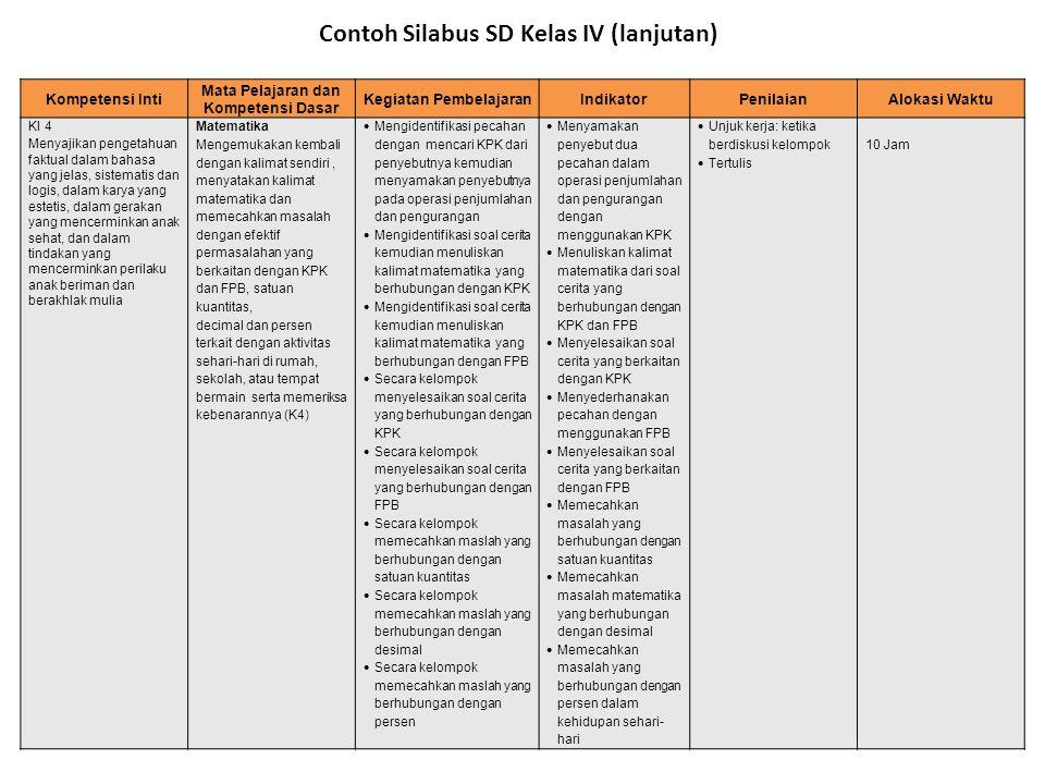 Kompetensi Inti Mata Pelajaran dan Kompetensi Dasar Kegiatan PembelajaranIndikatorPenilaianAlokasi Waktu KI 4 Menyajikan pengetahuan faktual dalam bah