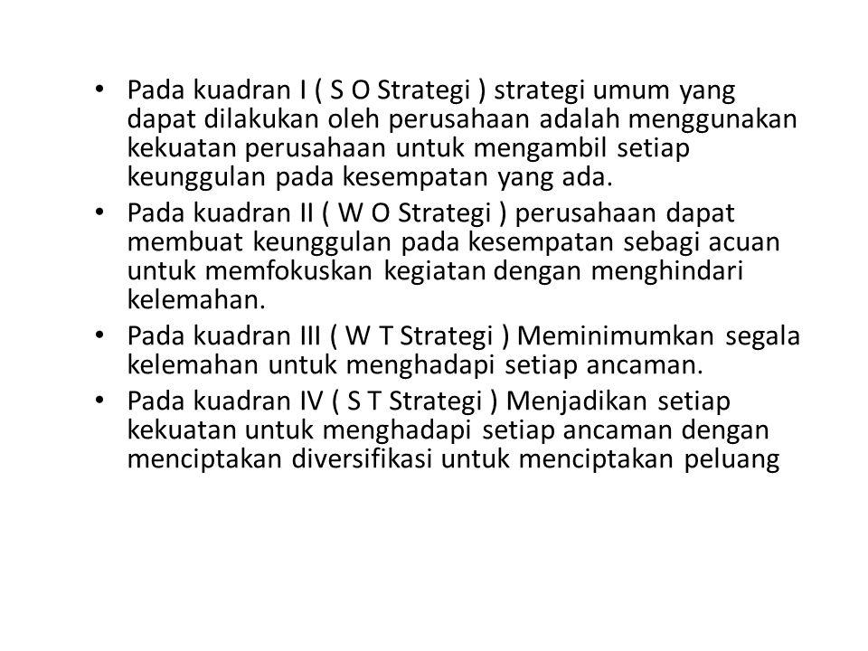 • Pada kuadran I ( S O Strategi ) strategi umum yang dapat dilakukan oleh perusahaan adalah menggunakan kekuatan perusahaan untuk mengambil setiap keu