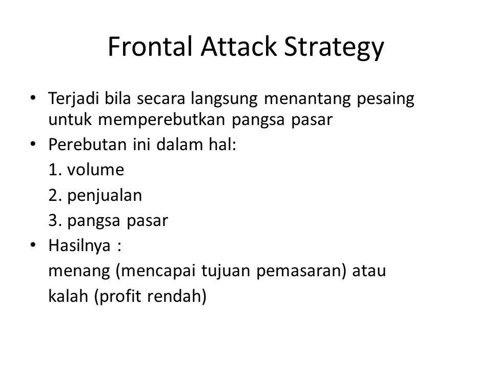 Frontal Attack Strategy • Terjadi bila secara langsung menantang pesaing untuk memperebutkan pangsa pasar • Perebutan ini dalam hal: 1. volume 2. penj