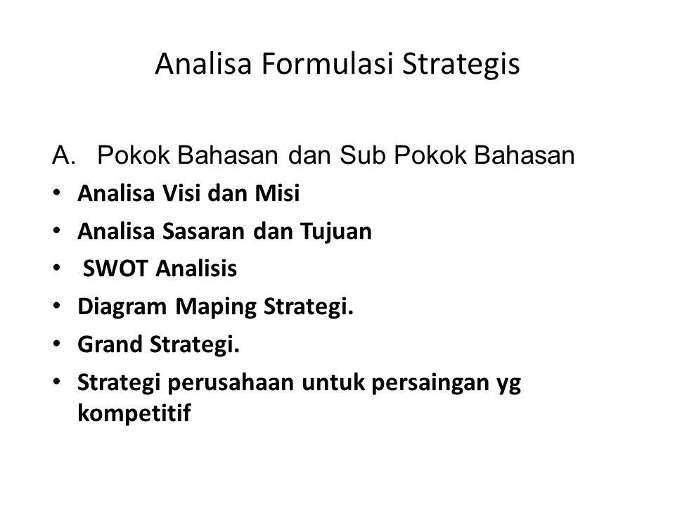 Analisa Formulasi Strategis A.Pokok Bahasan dan Sub Pokok Bahasan • Analisa Visi dan Misi • Analisa Sasaran dan Tujuan • SWOT Analisis • Diagram Mapin
