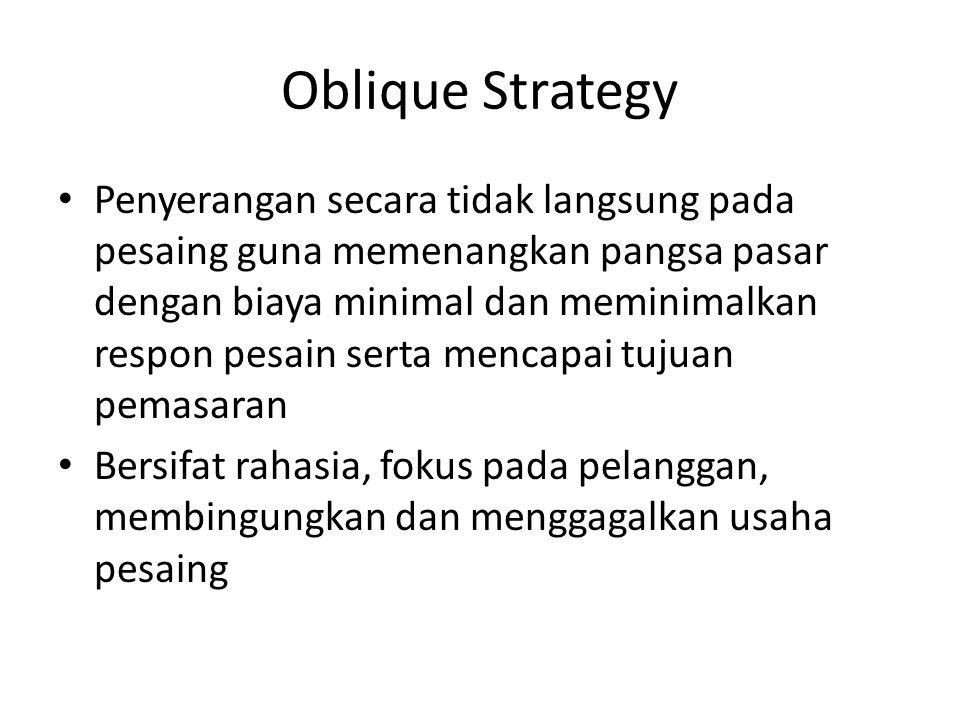 Oblique Strategy • Penyerangan secara tidak langsung pada pesaing guna memenangkan pangsa pasar dengan biaya minimal dan meminimalkan respon pesain se