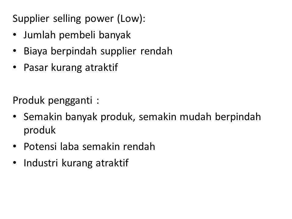 Supplier selling power (Low): • Jumlah pembeli banyak • Biaya berpindah supplier rendah • Pasar kurang atraktif Produk pengganti : • Semakin banyak pr