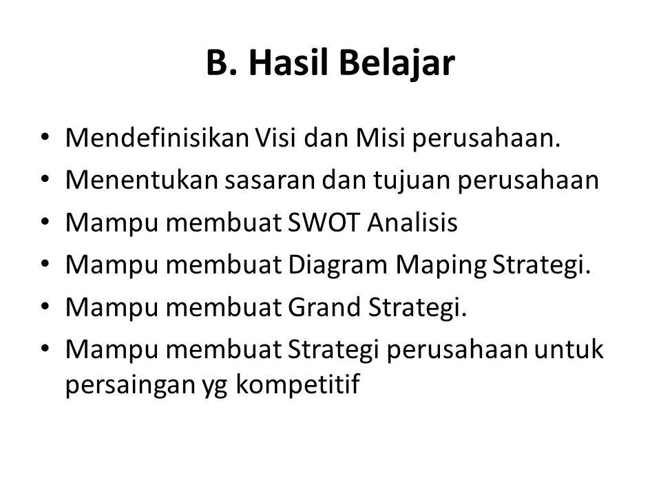 B. Hasil Belajar • Mendefinisikan Visi dan Misi perusahaan. • Menentukan sasaran dan tujuan perusahaan • Mampu membuat SWOT Analisis • Mampu membuat D