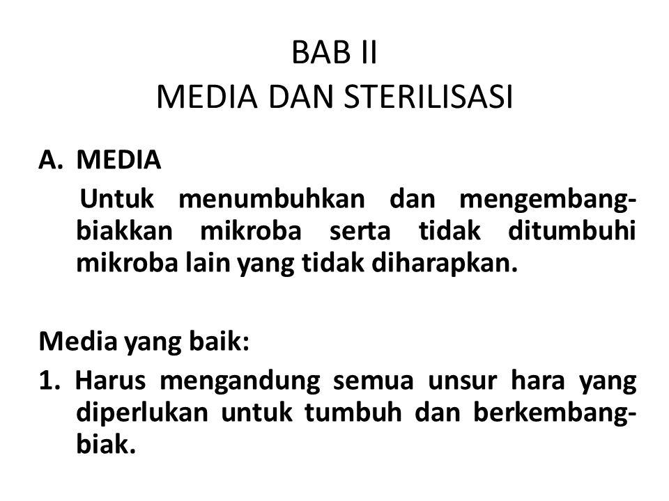 BAB II MEDIA DAN STERILISASI A.MEDIA Untuk menumbuhkan dan mengembang- biakkan mikroba serta tidak ditumbuhi mikroba lain yang tidak diharapkan. Media
