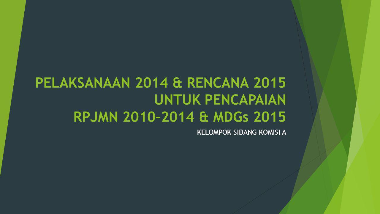 PELAKSANAAN 2014 & RENCANA 2015 UNTUK PENCAPAIAN RPJMN 2010–2014 & MDGs 2015 KELOMPOK SIDANG KOMISI A