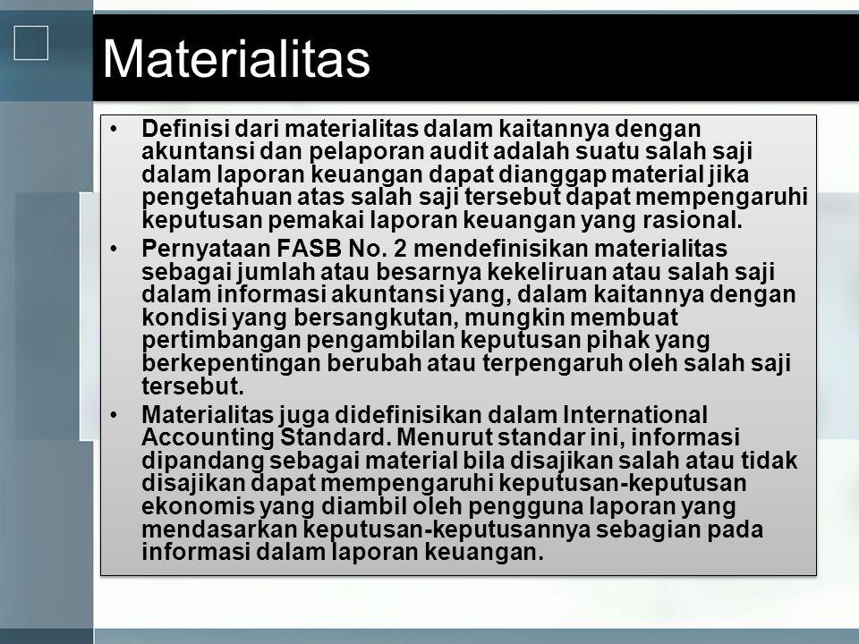 Materialitas •Definisi dari materialitas dalam kaitannya dengan akuntansi dan pelaporan audit adalah suatu salah saji dalam laporan keuangan dapat dia