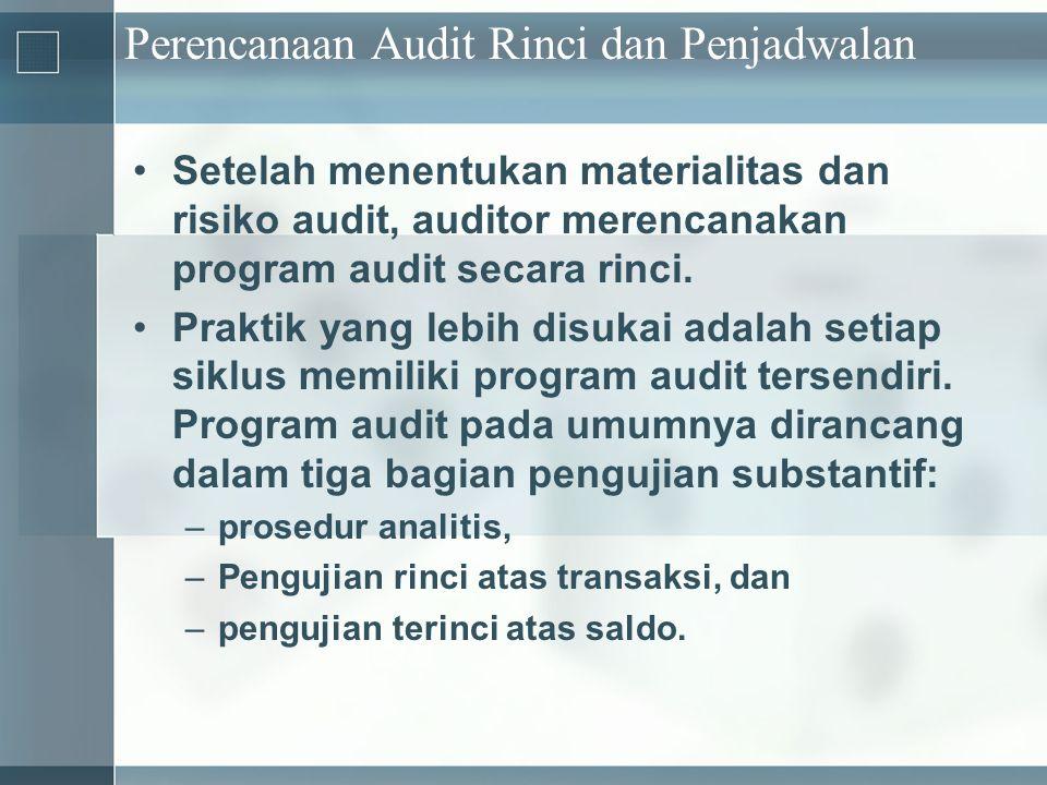 Perencanaan Audit Rinci dan Penjadwalan •Setelah menentukan materialitas dan risiko audit, auditor merencanakan program audit secara rinci. •Praktik y