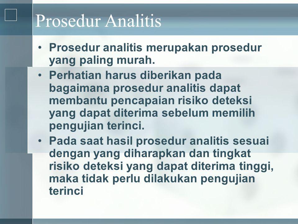 Prosedur Analitis •Prosedur analitis merupakan prosedur yang paling murah. •Perhatian harus diberikan pada bagaimana prosedur analitis dapat membantu