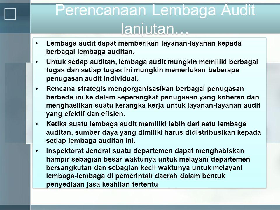 Perencanaan Lembaga Audit lanjutan… •Lembaga audit dapat memberikan layanan-layanan kepada berbagai lembaga auditan. •Untuk setiap auditan, lembaga au