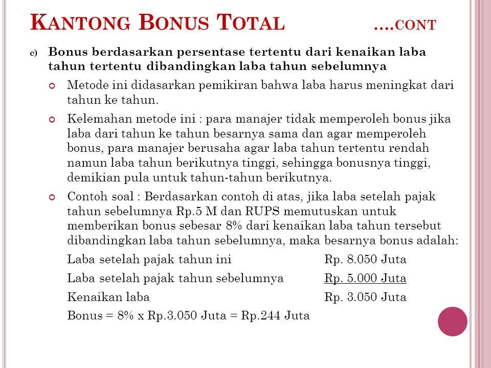 K ANTONG B ONUS T OTAL …. CONT c) Bonus berdasarkan persentase tertentu dari kenaikan laba tahun tertentu dibandingkan laba tahun sebelumnya Metode in