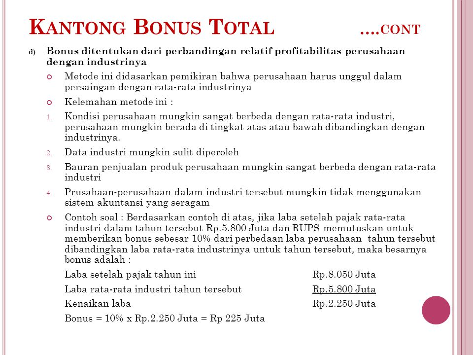 K ANTONG B ONUS T OTAL …. CONT d) Bonus ditentukan dari perbandingan relatif profitabilitas perusahaan dengan industrinya Metode ini didasarkan pemiki