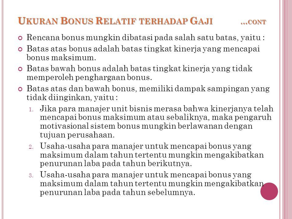 U KURAN B ONUS R ELATIF TERHADAP G AJI … CONT Rencana bonus mungkin dibatasi pada salah satu batas, yaitu : Batas atas bonus adalah batas tingkat kinerja yang mencapai bonus maksimum.