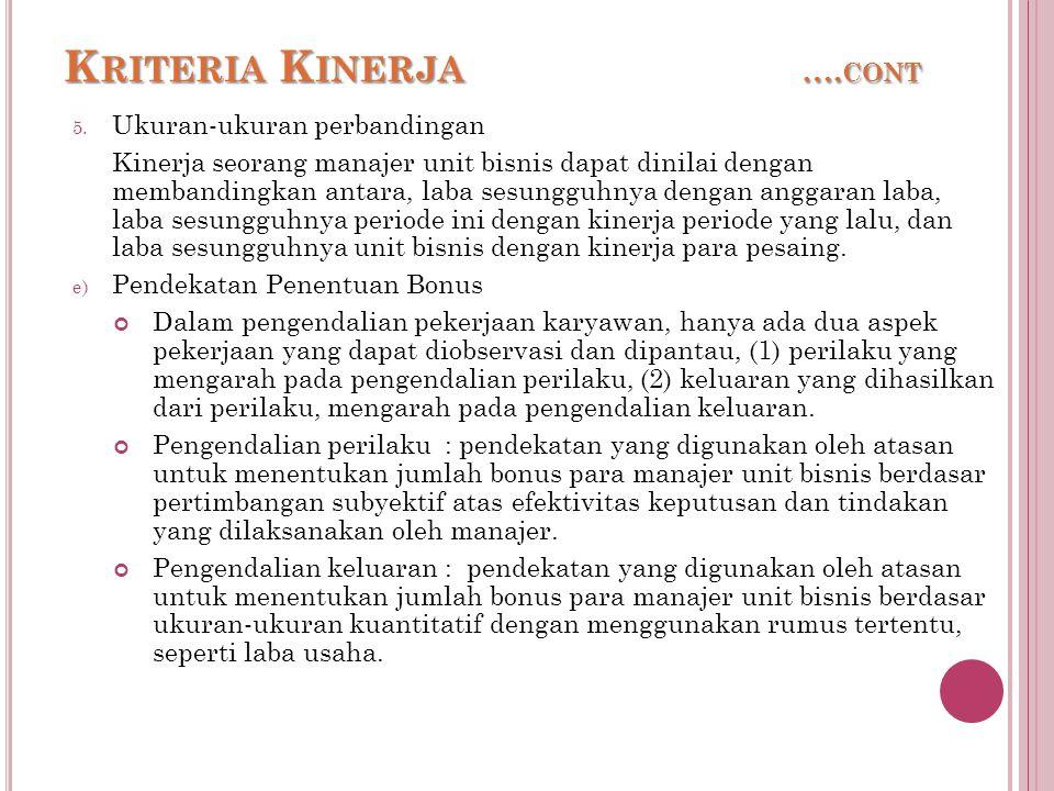 K RITERIA K INERJA ….CONT 5.