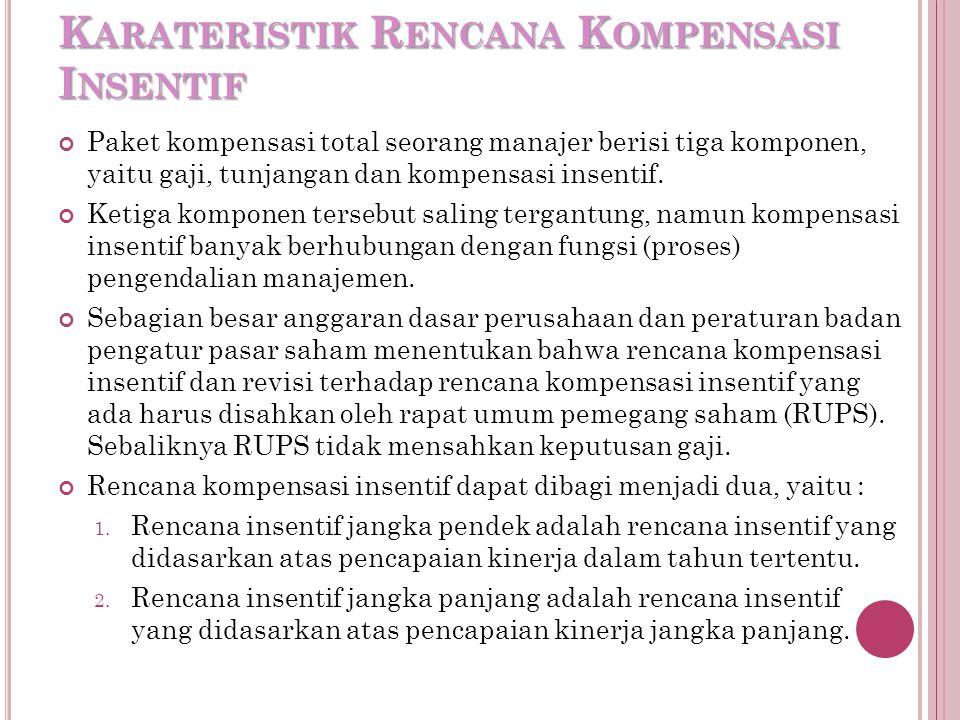 K ARATERISTIK R ENCANA K OMPENSASI I NSENTIF Paket kompensasi total seorang manajer berisi tiga komponen, yaitu gaji, tunjangan dan kompensasi insentif.