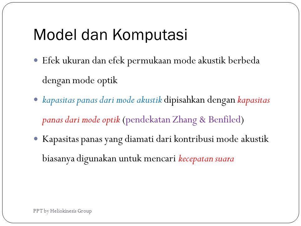Model dan Komputasi  Efek ukuran dan efek permukaan mode akustik berbeda dengan mode optik  kapasitas panas dari mode akustik dipisahkan dengan kapa