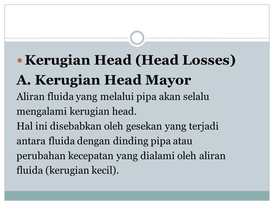  Kerugian Head (Head Losses) A. Kerugian Head Mayor Aliran fluida yang melalui pipa akan selalu mengalami kerugian head. Hal ini disebabkan oleh gese